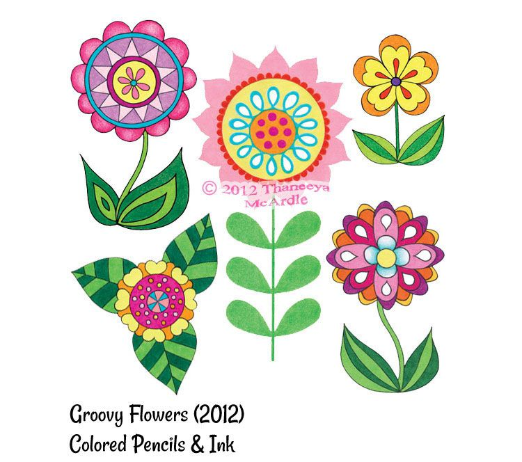 Cute Colorful Flowers Drawing By Thaneeya McArdle
