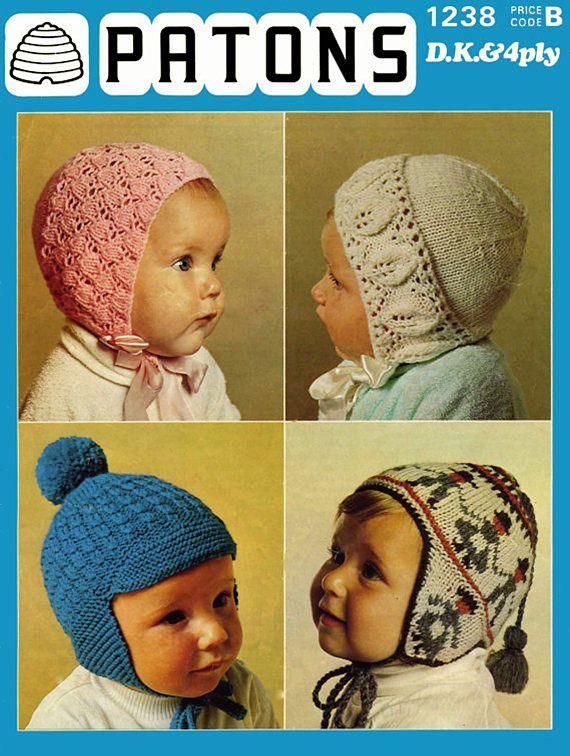 Pdf Vintage Baby Bonnets Helmets Knitting Pattern Patons 1238