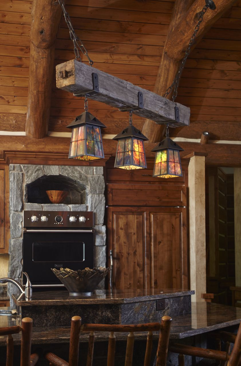 Rustic Beam Chandelier With Arts Crafts Style Lanterns And Hand Forged Details Lights The Main K Rustic Kitchen Lighting Rustic Kitchen Rustic Kitchen Island