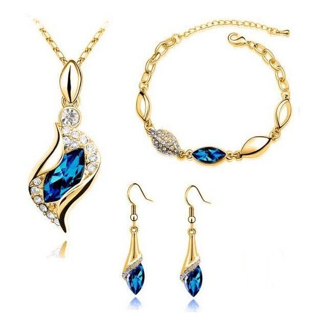 2015 New Fashion 18K Gold Plated Angel Eye Austrian Crystal Necklace Bracelet Earrings Wedding Sapphire Jewelry Sets for Women