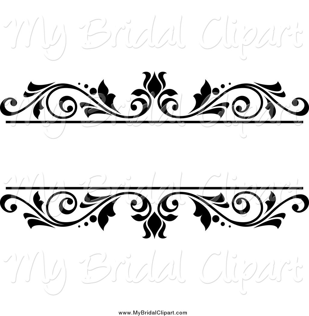 Bridal Clipart Of A Black And White Floral Wedding Frame By