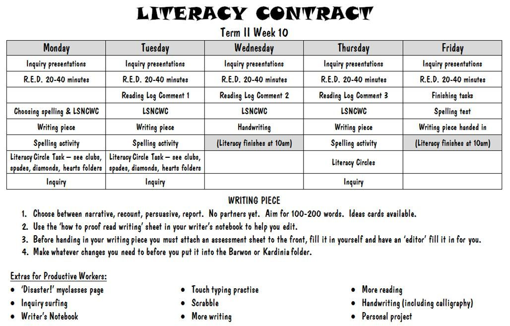 Sample Senior Literacy Contract Word Doc This Was Our TeamS Way