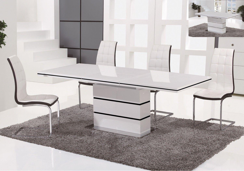 Table De Repas Design A Rallonge Laque Blanc Wolk En 2020 Table