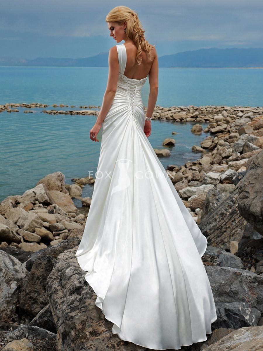 TanTastyNTaken fashion beach a line wedding dress satin beaded ...