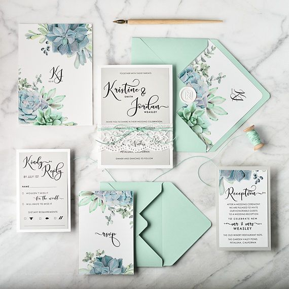 Mint Wedding Invitation Suite 20 Wedding Invitations Lace Succulents Wedding Invitati Minted Wedding Invitations Wedding Invitations Uk Wedding Invitations