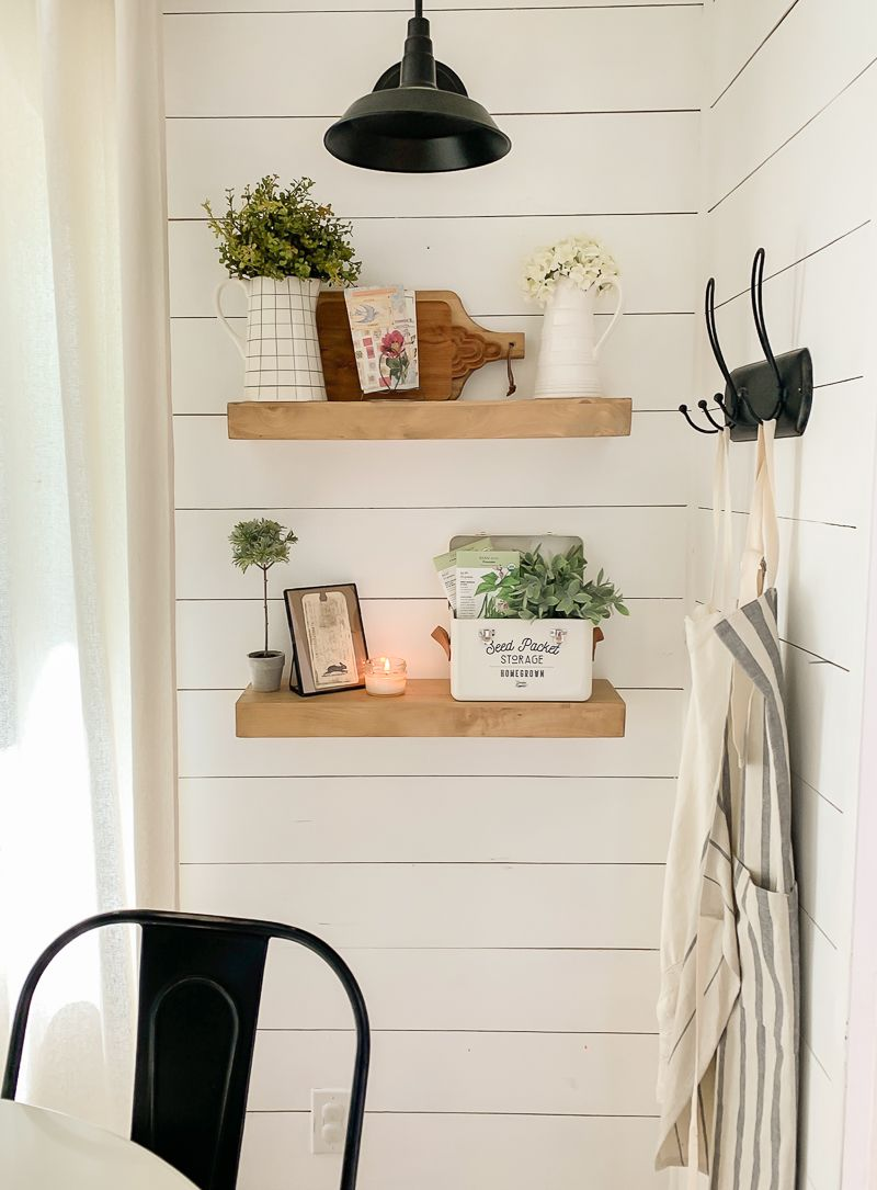 Easy Summer Kitchen Shelves | Farmhouse shelves, Kitchen ...