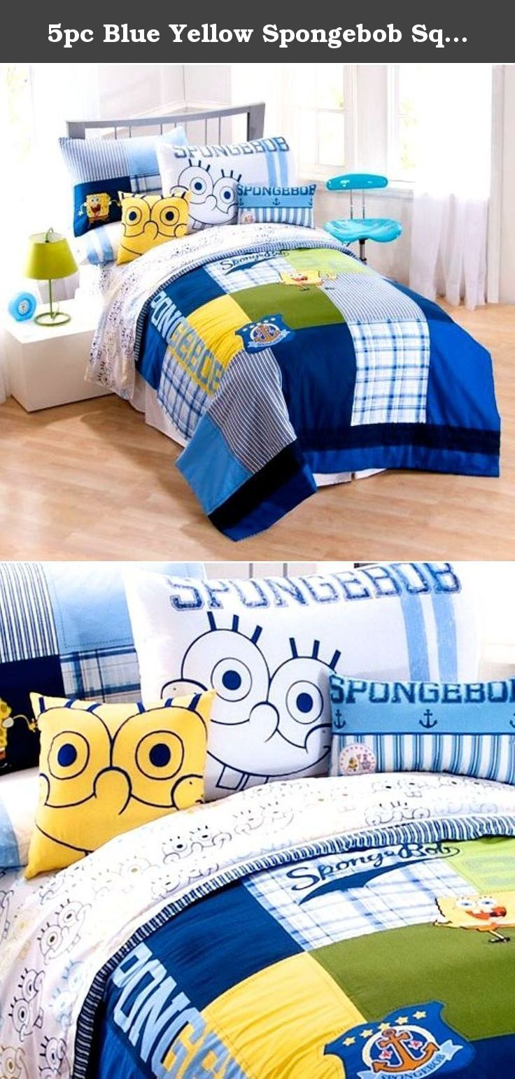 5pc Blue Yellow Spongebob Squarepants Twin