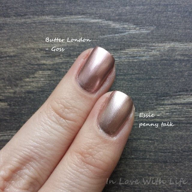 Comparison Swatch: Butter London Goss vs. Essie Penny Talk | Nails ...
