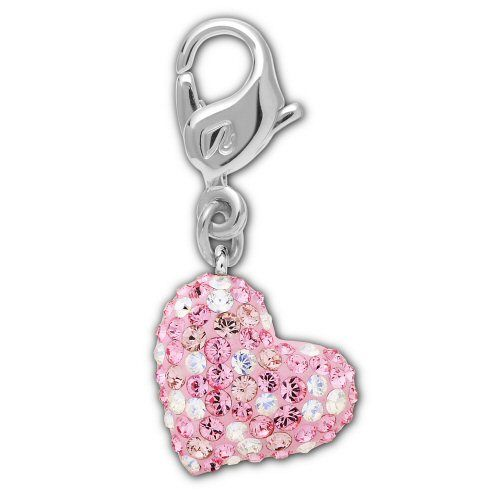 Alana Heart Charm, Light Rose/Rhodium Shiny, Swarovski