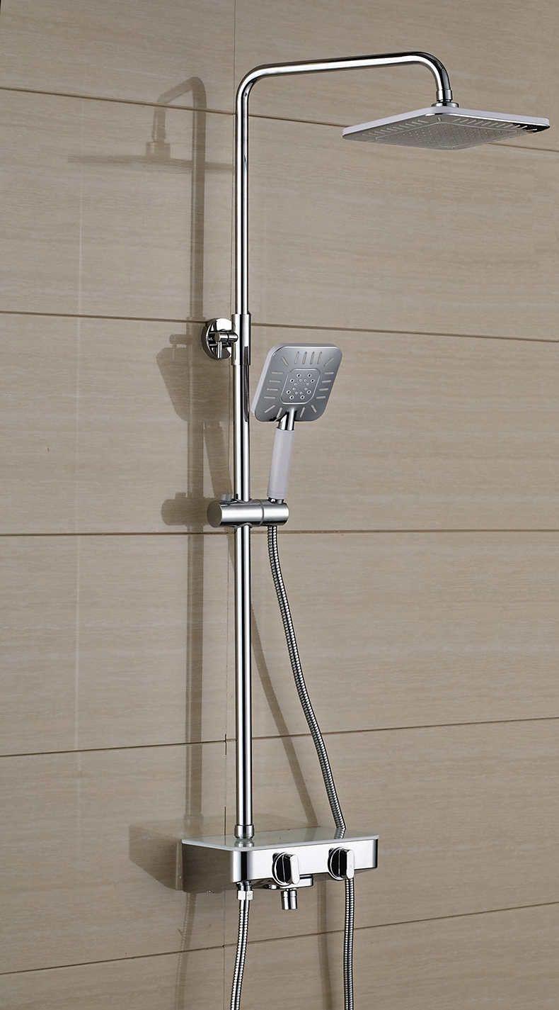 Marvelous New Modern Wall Mount Shower Faucet Mixer Tap W/ Rain Shower Head U0026 Handheld  Shower