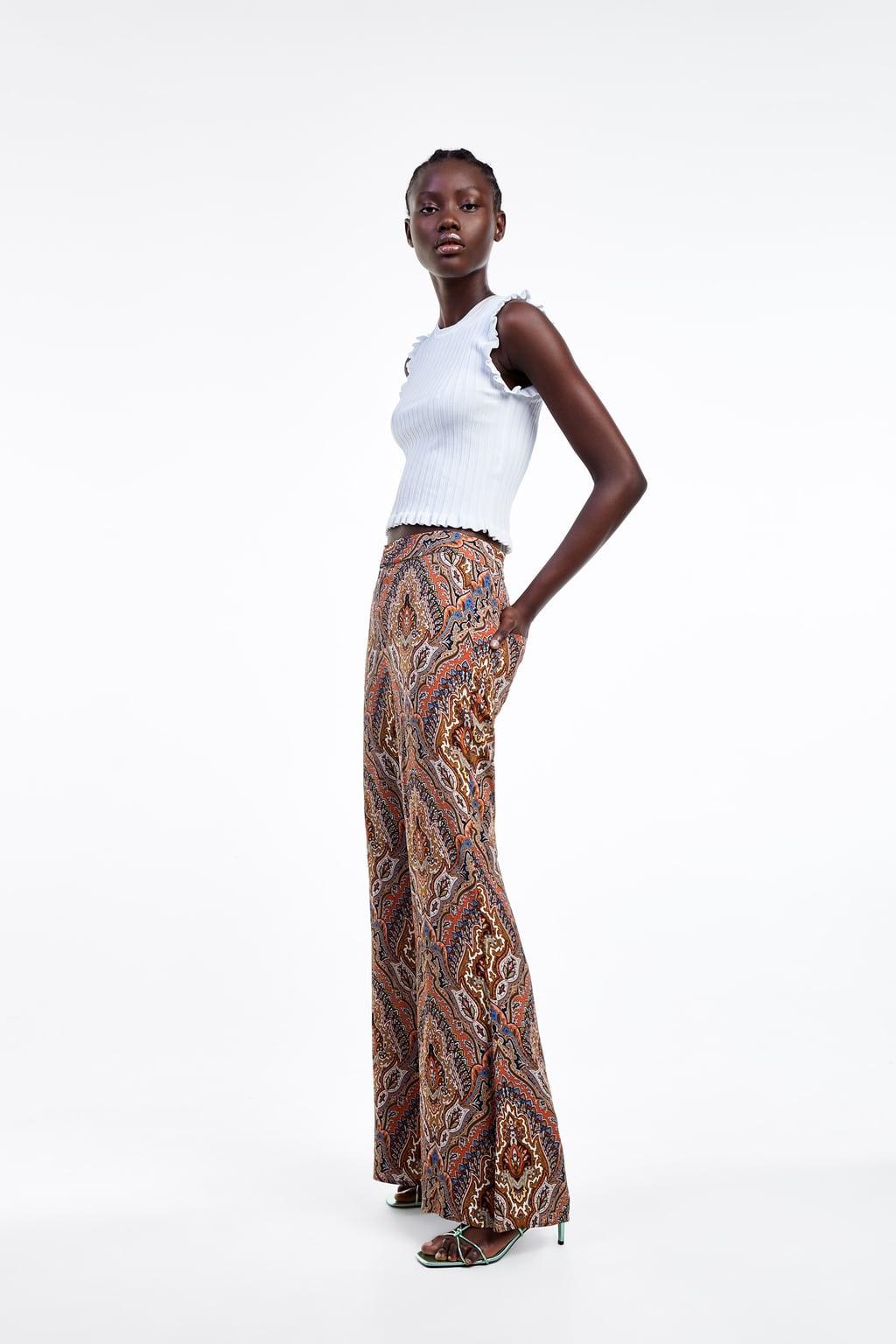 Pantalon Flare Estampado Ultima Semana Mujer Zara Espana