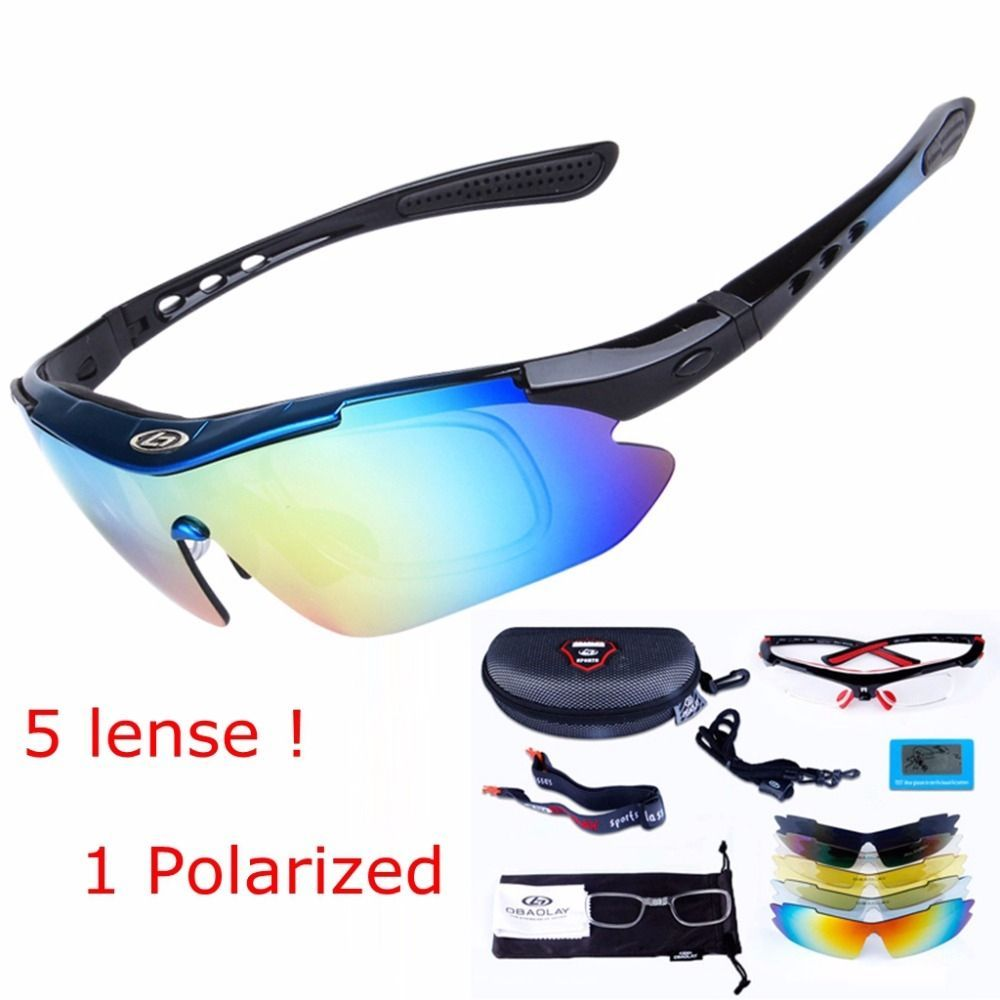 571f871e47 OBAOLAY 5 Lens Goggles Bike Radar EV Sunglasses Ploarized Cycling glasses  Fishing Eyewear Ciclismo Occhiali with Myopia Frame