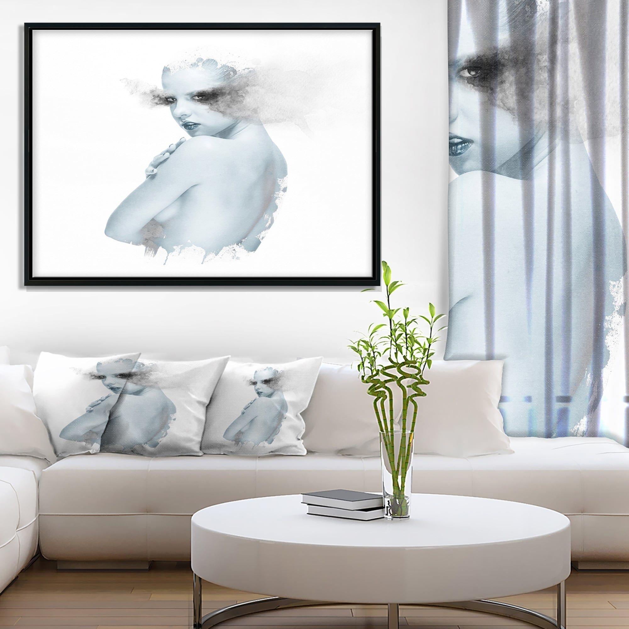 Designart \'Beautiful Young Woman Double Exposure\' Portrait Framed ...