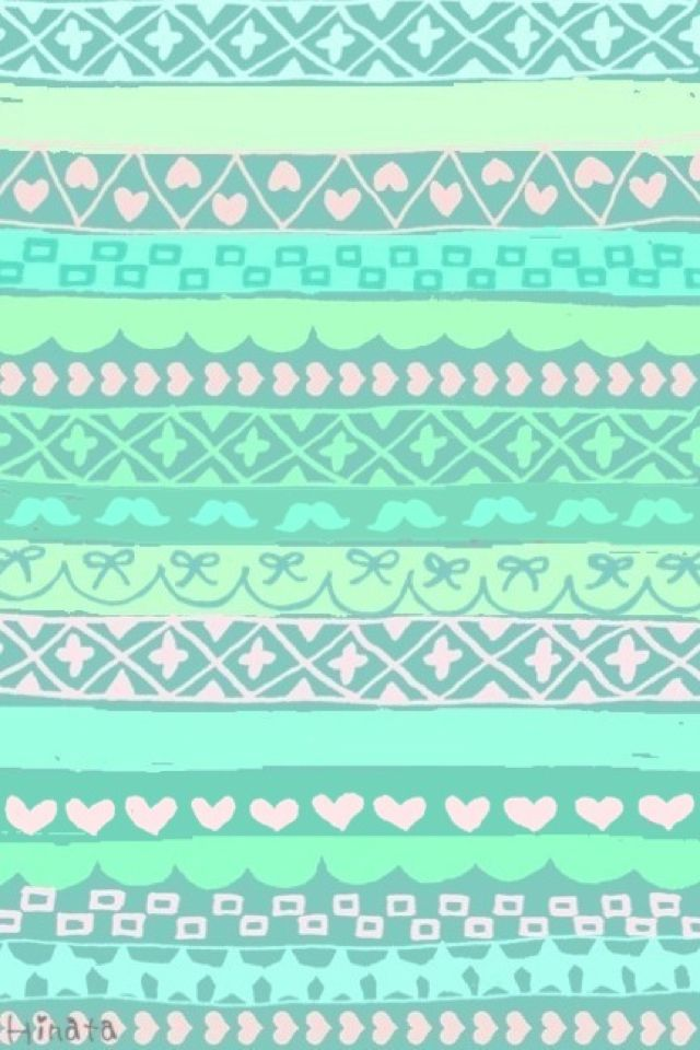 Mint Green Tribal Print Wallpaper