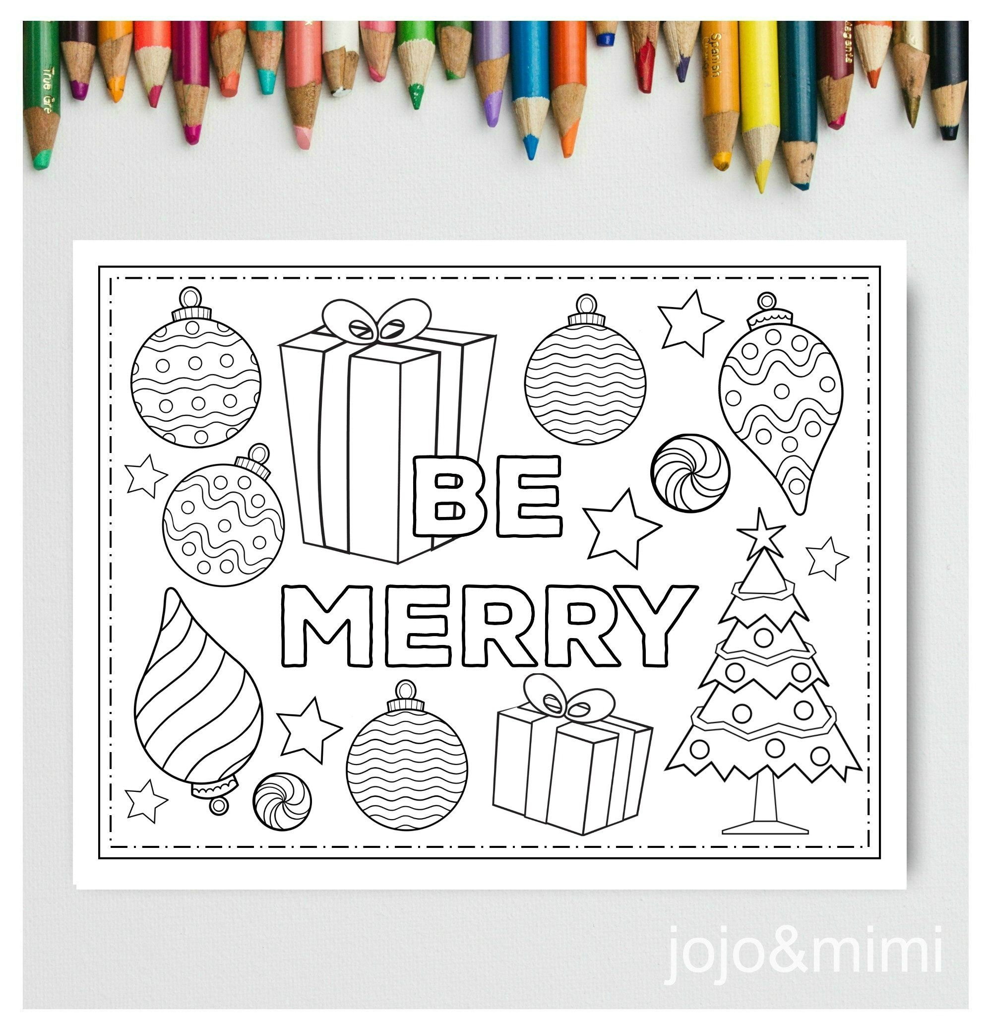 Christmas Printable Be Merry Placemat Activity Christmas Coloring Page Instant Download Holid Christmas Coloring Pages Fall Coloring Pages Christmas Printables