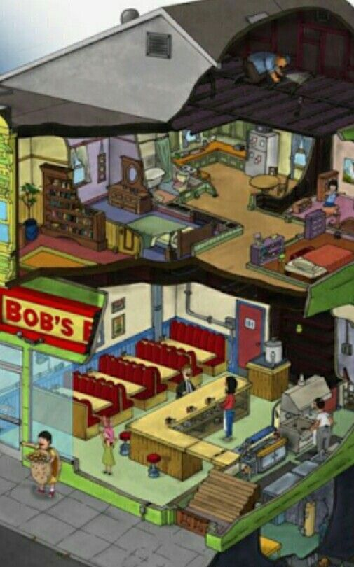 Ok But Have We Actually Seen Genes Room Bobs Burgers Louise Bobs Burgers Restaurant Plan