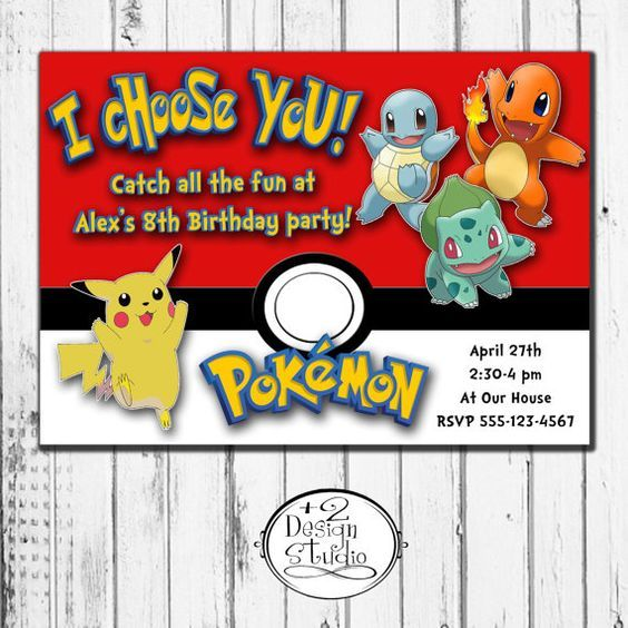 Custom Pokemon Birthday Party Printable Invitation Pokeball Pikachu Charmander Boy Teen Tween