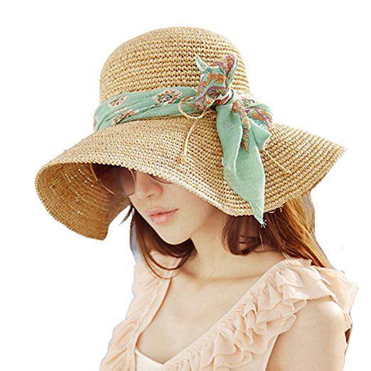 Itopfox Women s Summer Floppy Bowknot Straw Hat Wide Visor Sun Hat Beach Hat 68622b1671b8