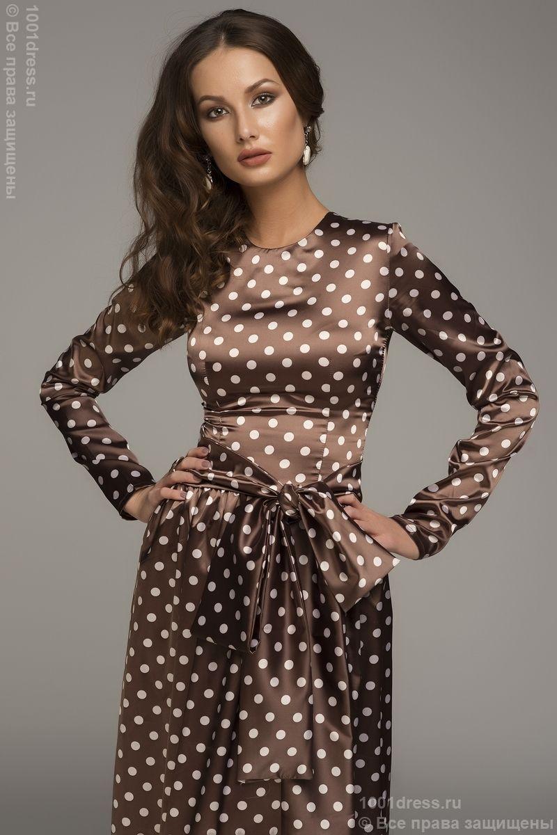Brown And White Satin Polka Dot Tea Dress Polka Dot Long
