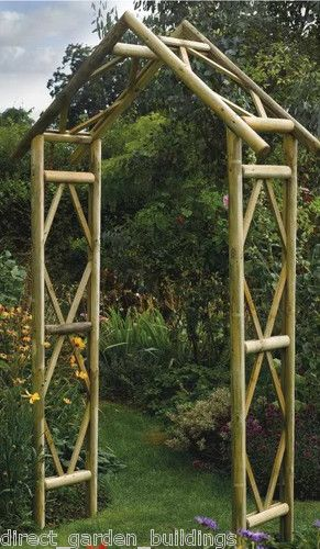 80 270x125x 45cm New Rustic Garden Wooden Arch Wood Archway Pressure Treated Timber Trellis Ebay