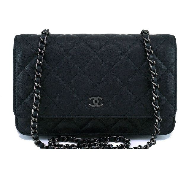 5bbb10c26f7 Pre-Owned 17S Chanel So Black Classic Quilted WOC Wallet on Chain Flap...  ( 2