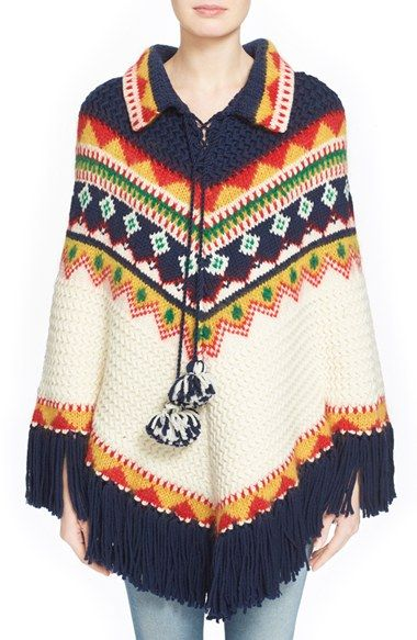 Saint Laurent Fair Isle Wool Blend Knit Poncho | ideas de nuevos ...