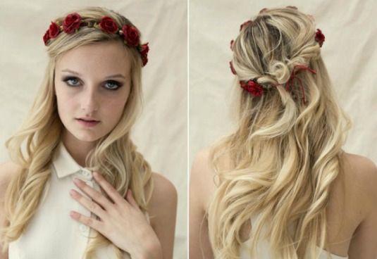 cabelo+headband de flores