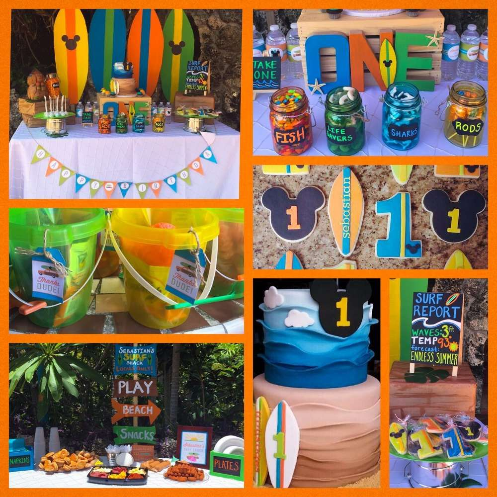 Mickey S Surf Theme Birthday Party Ideas With Images Beach