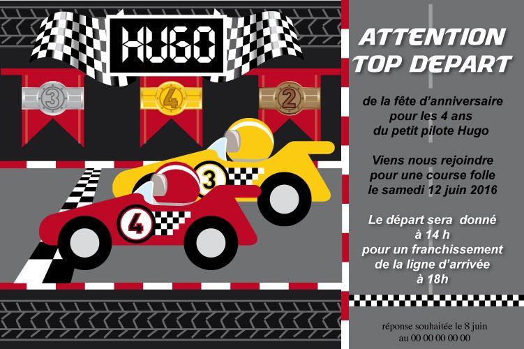 Connu Carton d'invitation anniversaire course de voitures  IH26