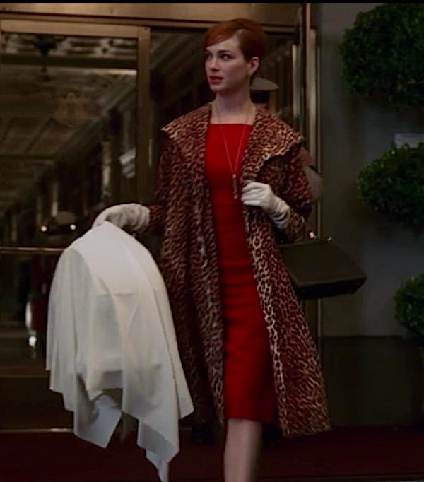 9187d87c2801 Joan Holloway in leopard coat (Mad Men) | ~ FAREWELL MAD MEN ...