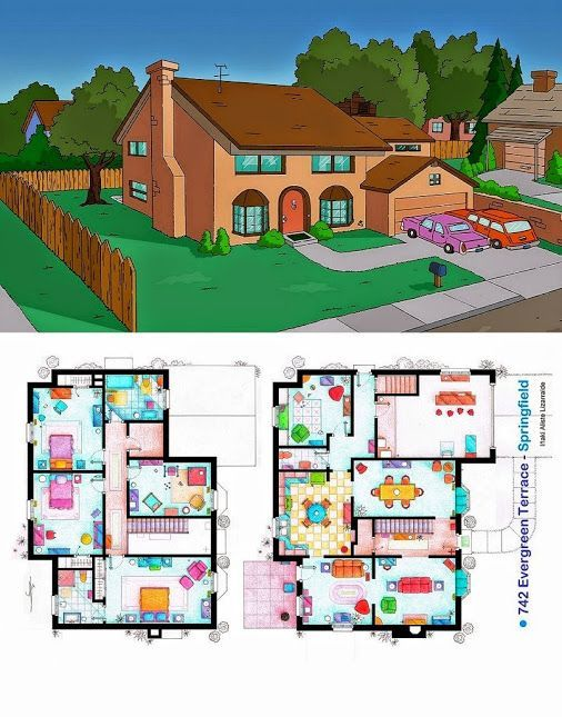 ever wondered about the floor plan of the simpsons house? check it