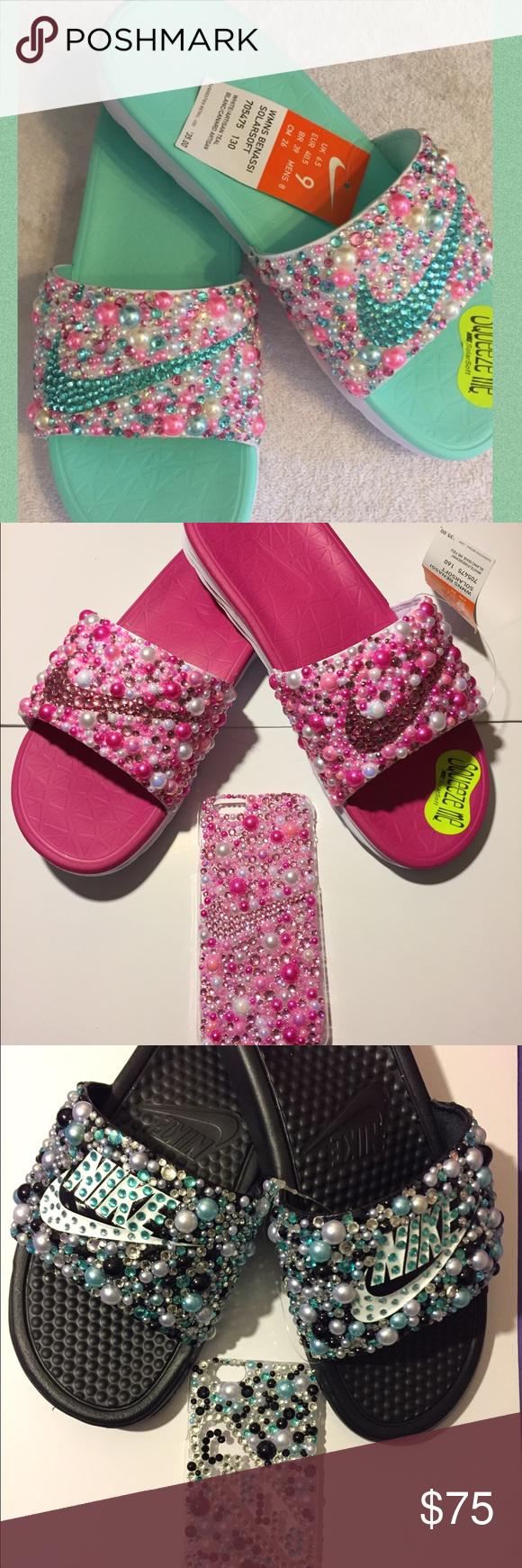 Custom Bling Nike Slides | Sandalias, Chanclas y Calzado