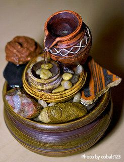 Decorative Indoor Fountains Small stone and pottery tabletop fountain orange yellow brown small stone and pottery tabletop fountain orange yellow brown red with workwithnaturefo