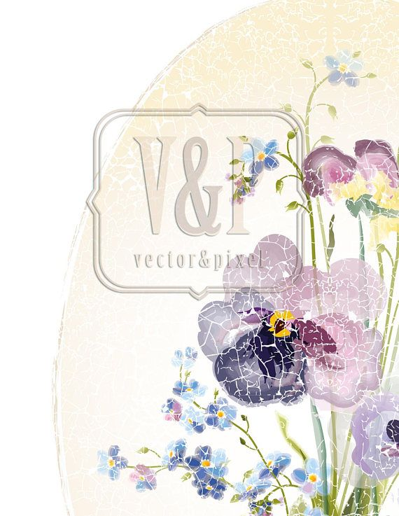 Mauve Watercolor Pansies Print Purple Blue Pink Forget-me-not