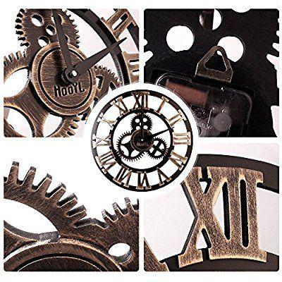 Orologio Da Parete In Legno 3d Vintage Europeo Con Ingranaggi Numero