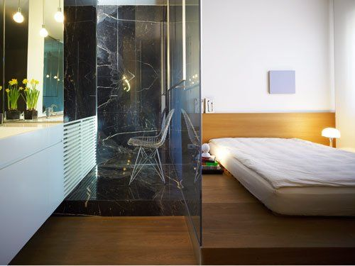 Bad Und Schlafzimmer Mit Glaswand Getrennt Wohnen Zuhause Zimmer
