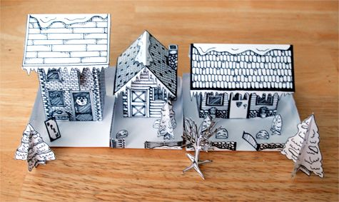 free printable of little house drawn on or blank to draw your own designs