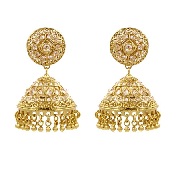 Golden Jhumka Earrings With White Champaign Stone Online Ping Karigari Jewellery