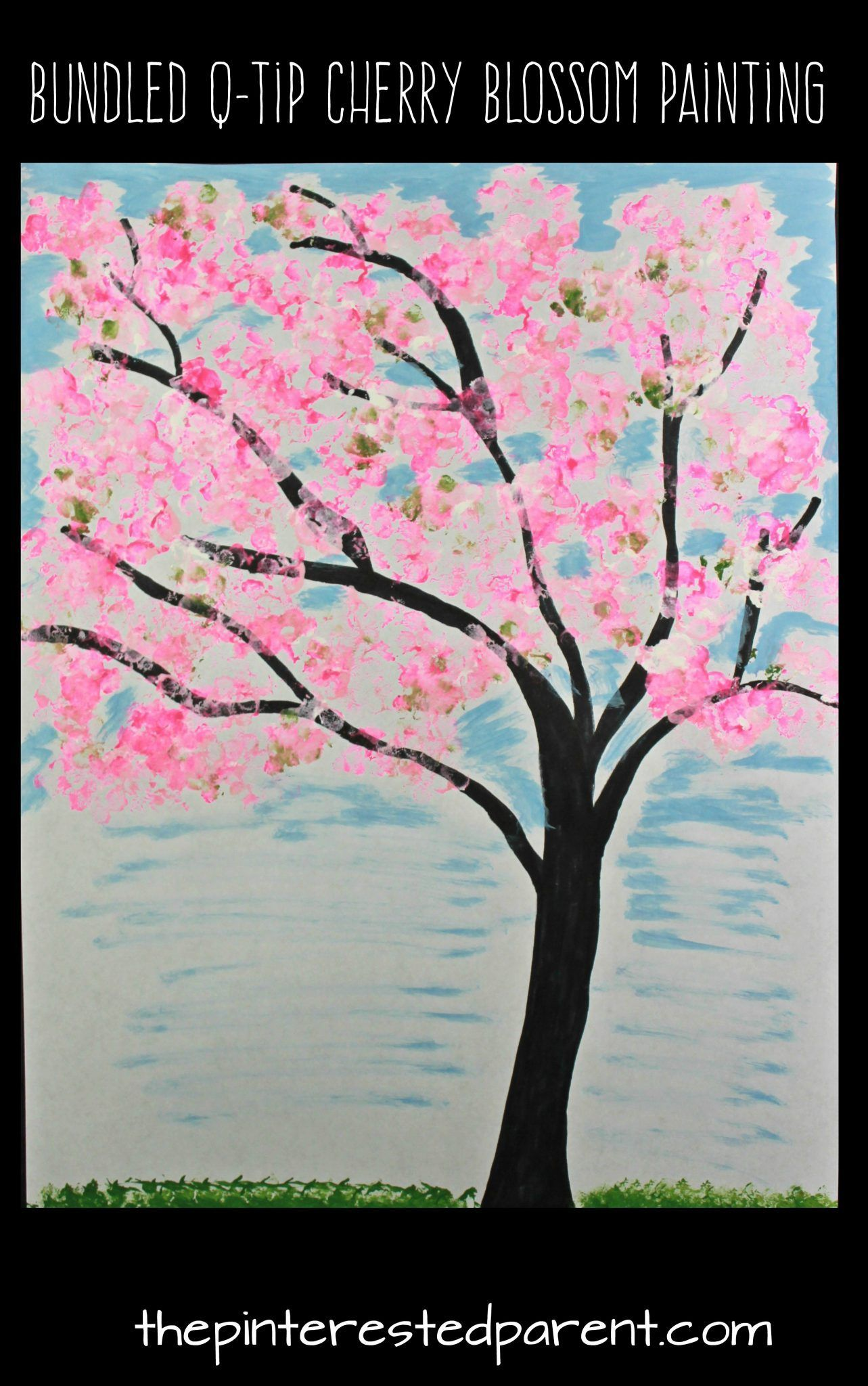 Easy Bundled Q-tip stamped spring Cherry blossom tree paintings. Winter,  spring, summer and fall arts and craft project for kids.