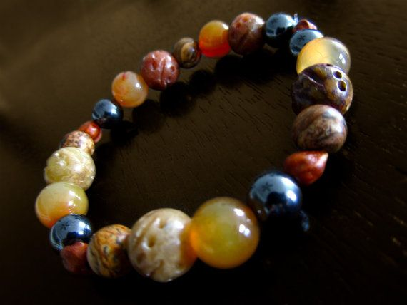 Three Gem Mineral Bracelets Beaded Soft Suede Hemae Jasper Healing Beads