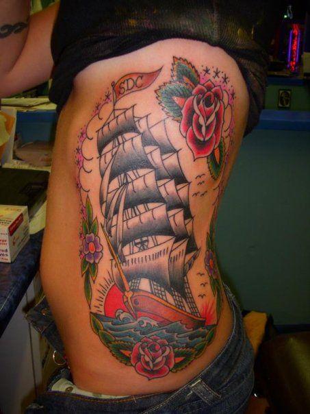 Austin Watercolor Tattoo: Clipper Ship Tattoo By Jon Reed, All Saints Tattoo Austin