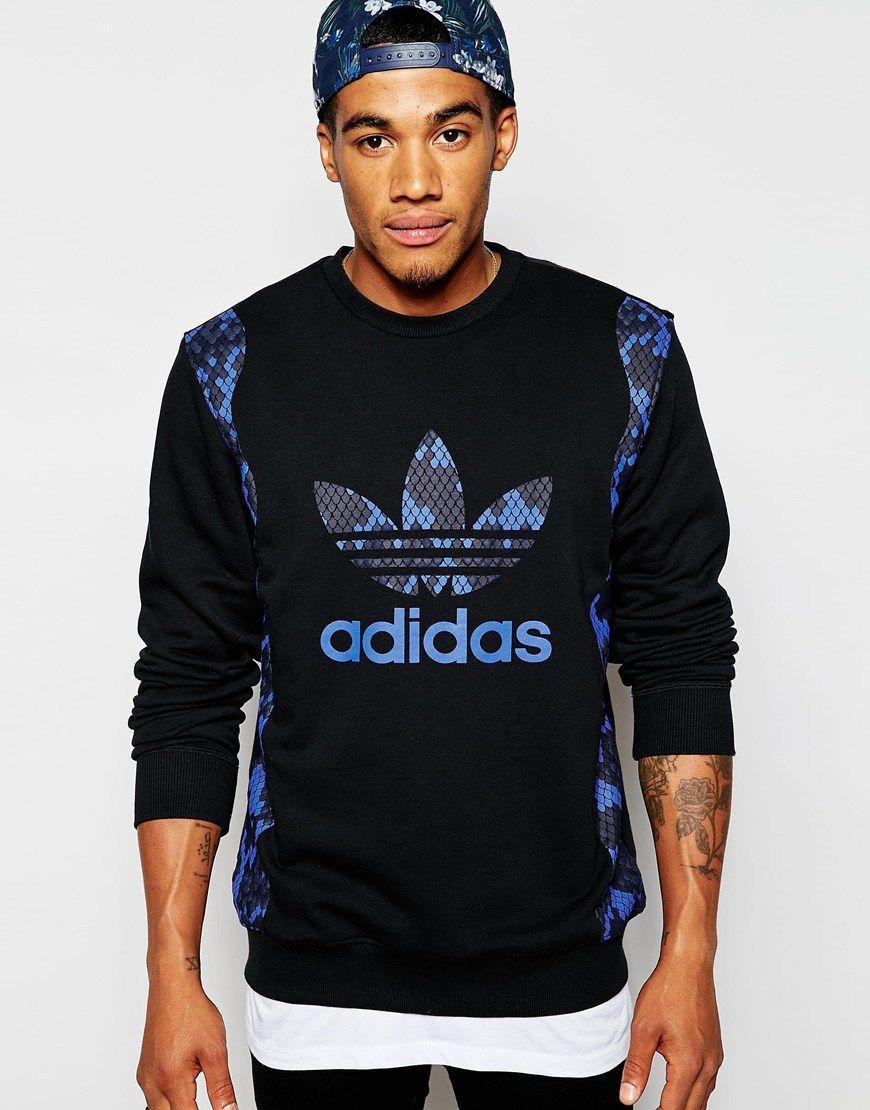 Adidas Originals Sweatshirt With Snake Print Ab7644 At Asos Com Adidas Outfit Fashion Sweatshirts Adidas Outfit