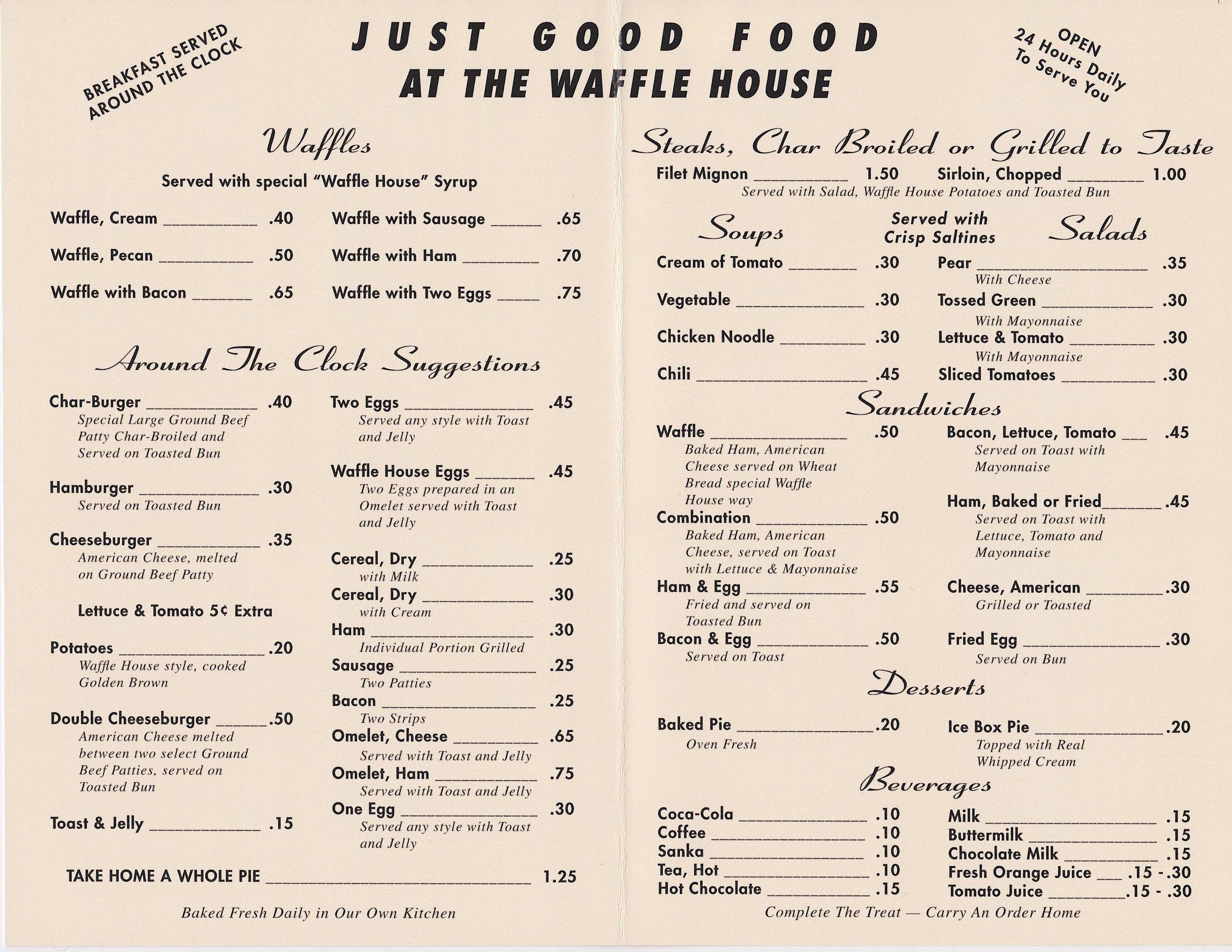 Waffle House Menu In 2020 Waffle House Menu Waffle House Vintage Menu