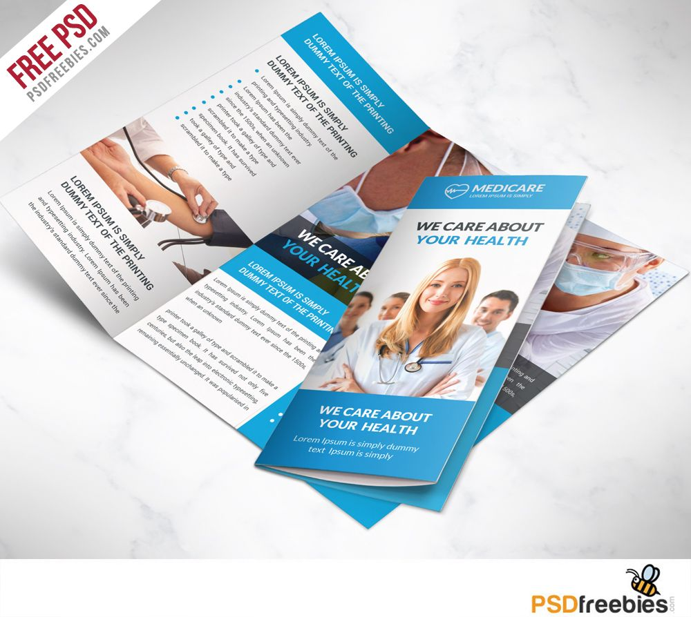 Medical Care And Hospital Trifold Brochure Template Free PSD - Free brochures templates