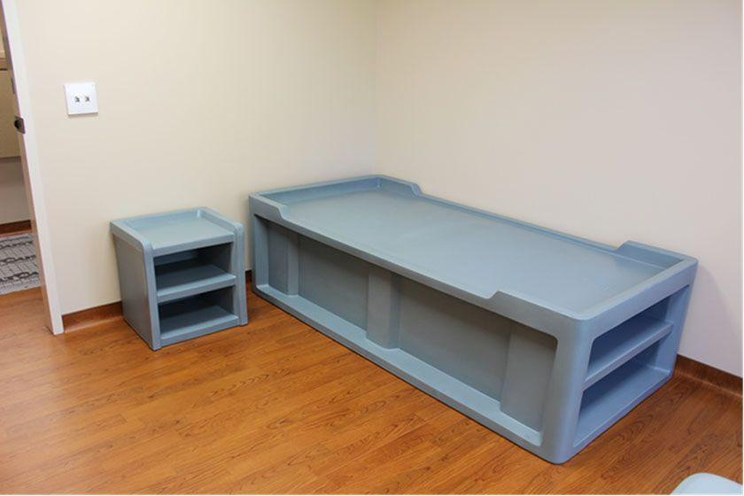 Molded Plastic Bedroom Furniture Comes With Bolt Down Or Weighing Options To Keep The Items From Being Thrown Prison Mental Health Faculties