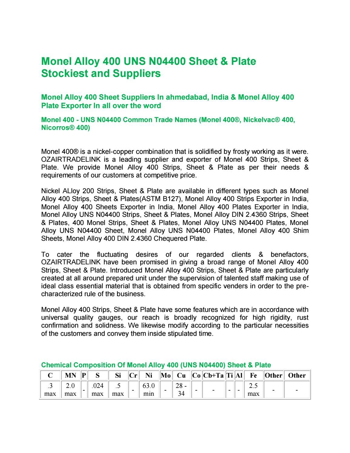 Monel Alloy 400 UNS N04400 Sheet & Plate Stockiest and Suppliers