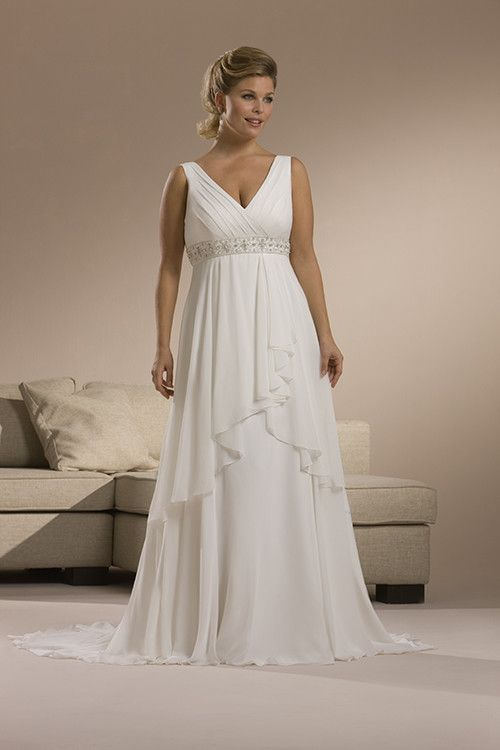Loose Comfortable Plus Size Straps V Neck Beaded Wasitline Empire Chapel Train Chiffon Satin Wedding Dress For Brides In Canada Prices
