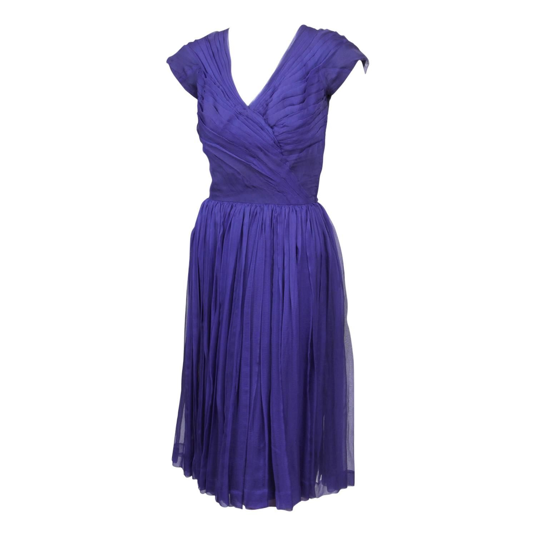 1960\'s Lanvin Castillo Purple Silk Ruched Cocktail Dress   Silk ...