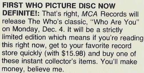 Who, The / First Who Picture Disc Now Definite! | Magazine Article (1978)