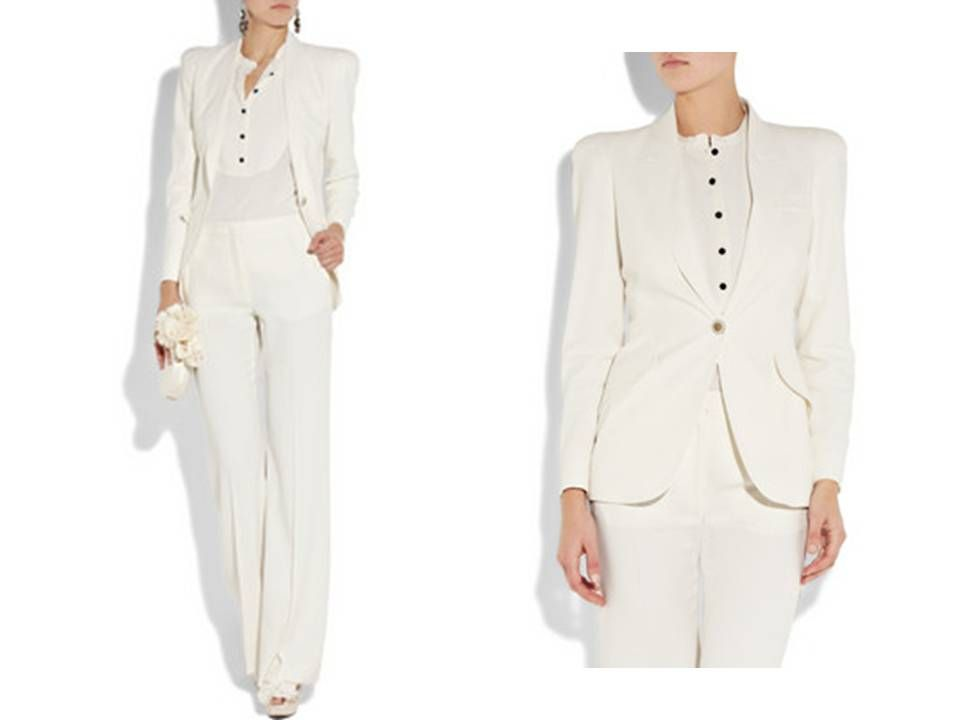 One Button Jacket And Collarless Blouse Women Suits Wedding White Wedding Suit Suits For Women